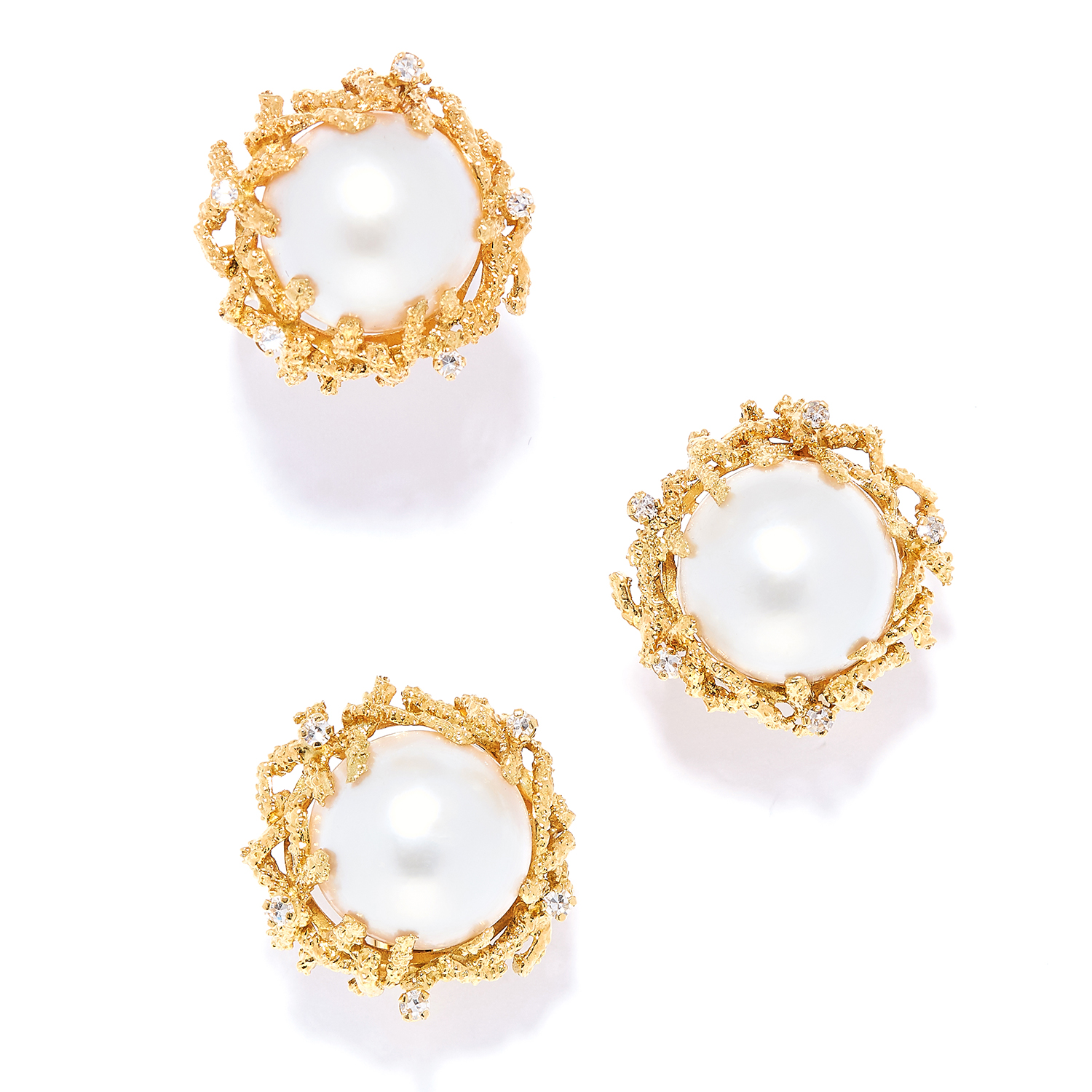 PEARL AND DIAMOND RING AND EARRINGS SUITE, BEN ROSENFELD, CIRCA 1976-77 in 18ct yellow gold, each