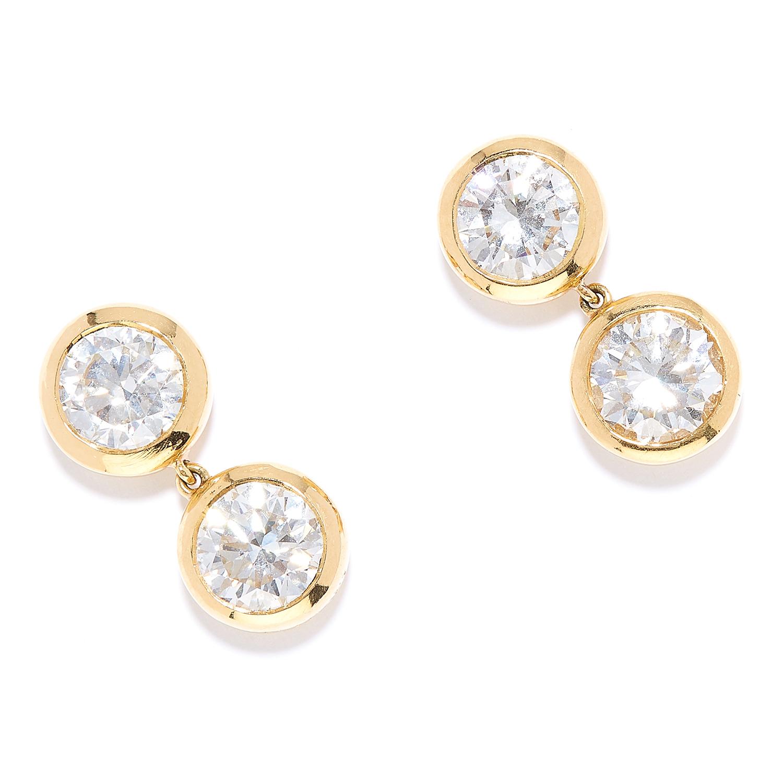 7.00 CARAT DIAMOND EARRINGS, BULGARI in 18ct yellow gold, each comprising of two round cut