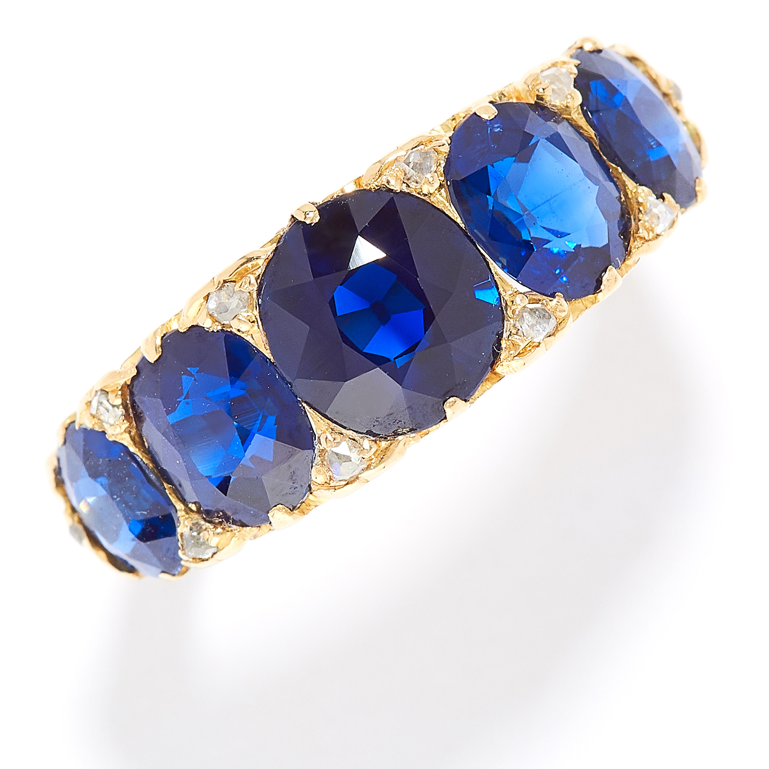ANTIQUE BURMA NO HEAT SAPPHIRE AND DIAMOND RING, LATE 19TH CENTURY in high carat yellow gold, set
