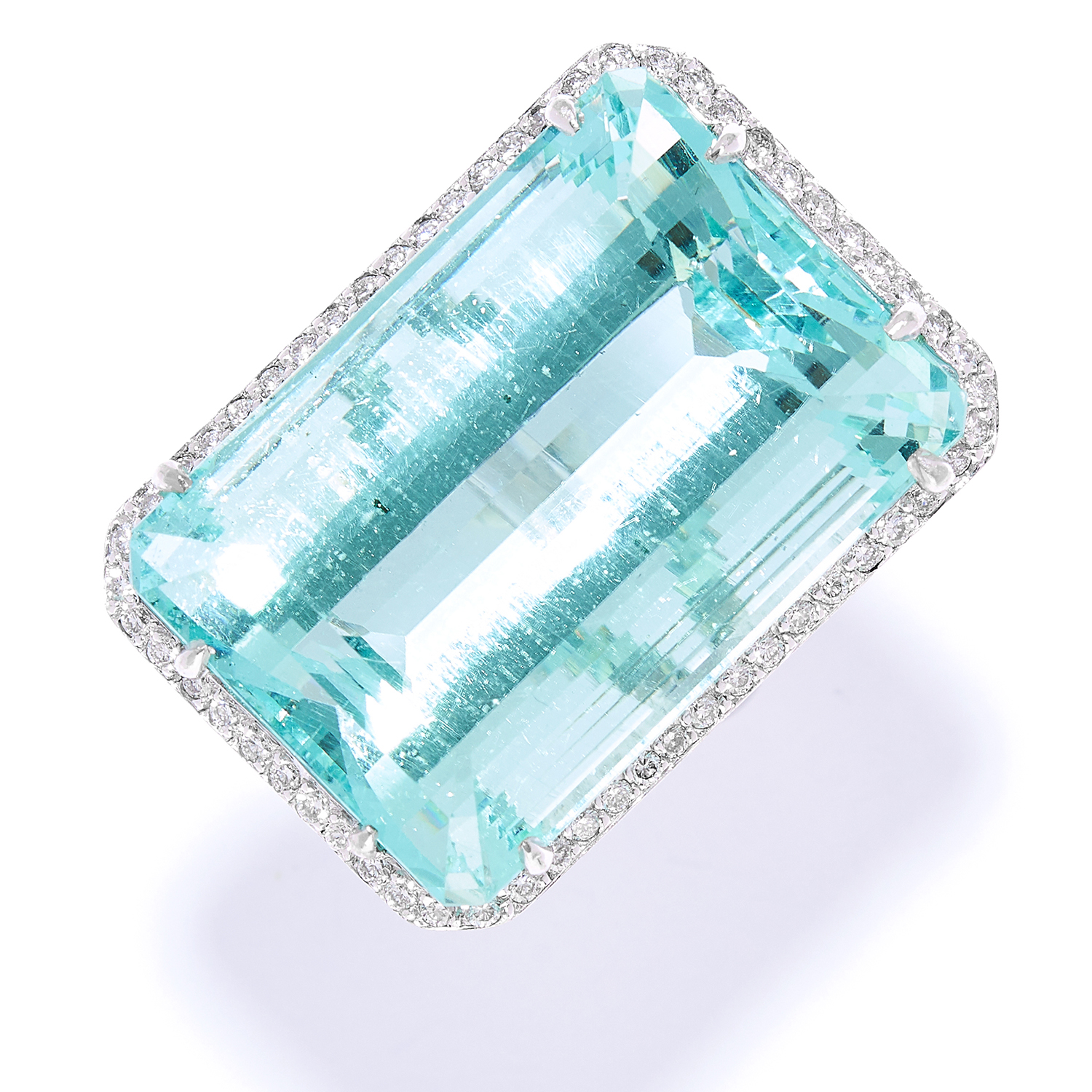 66.00 CARAT AQUAMARINE AND DIAMOND COCKTAIL RING in 18ct white gold, set with an emerald cut