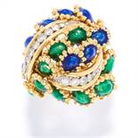 DIAMOND AND ENAMEL BOMBE RING, KUTCHINSKY, CIRCA 1969 in 18ct yellow gold, jewelled with curved rows