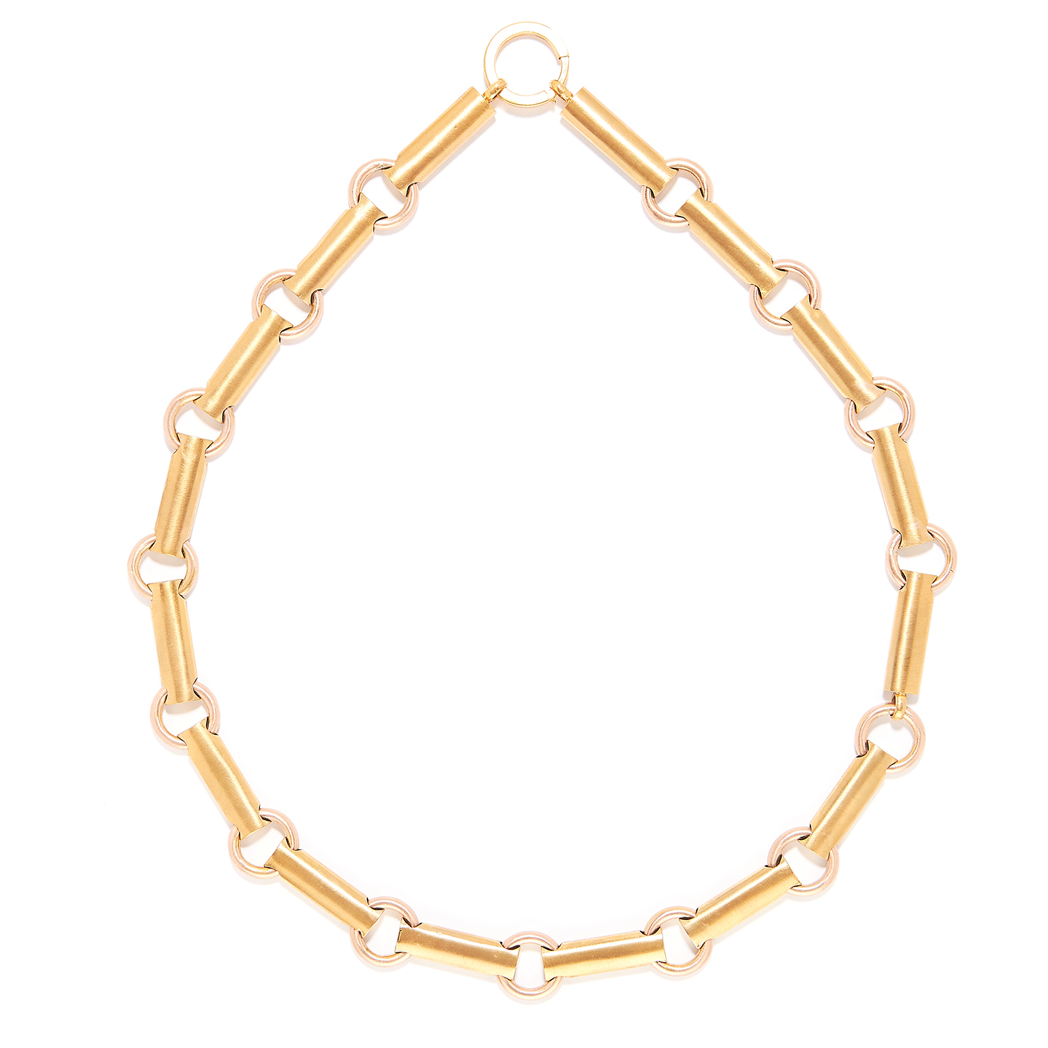 YELLOW GOLD FANCY LINK CHAIN in yellow gold, comprising of alternating circular and baton links,