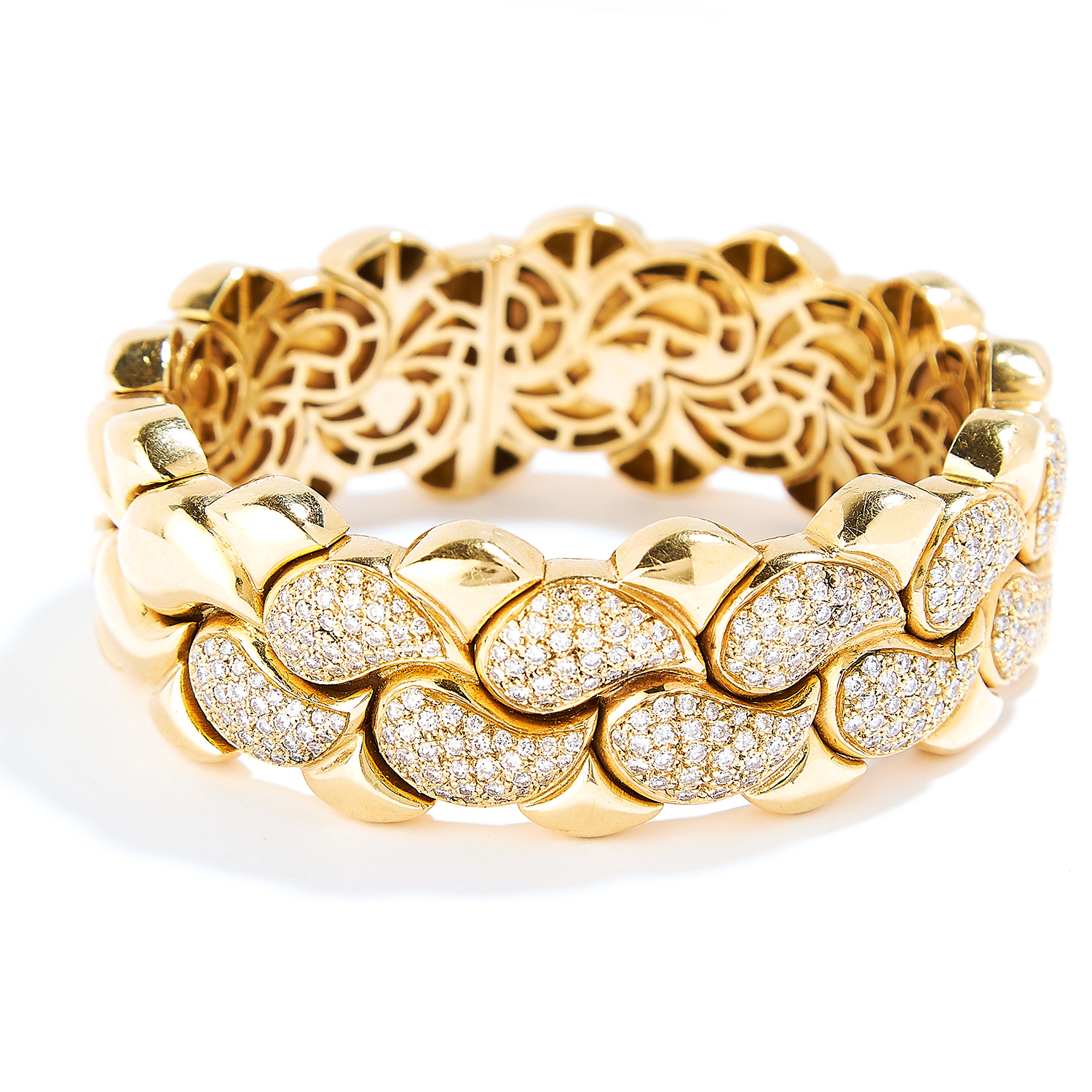 'CASMIR' DIAMOND NECKLACE AND BRACELET SUITE in 18ct yellow gold, in the style of Chopard, each - Bild 4 aus 4