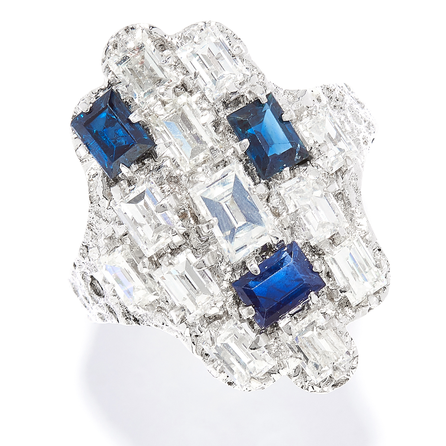 SAPPHIRE AND DIAMOND DRESS RING, CHARLES DE TEMPLE, CIRCA 1960 in 18ct white gold, in abstract