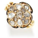 ANTIQUE DIAMOND AND ENAMEL CLUSTER RING in high carat yellow gold, set with a cluster of rose cut