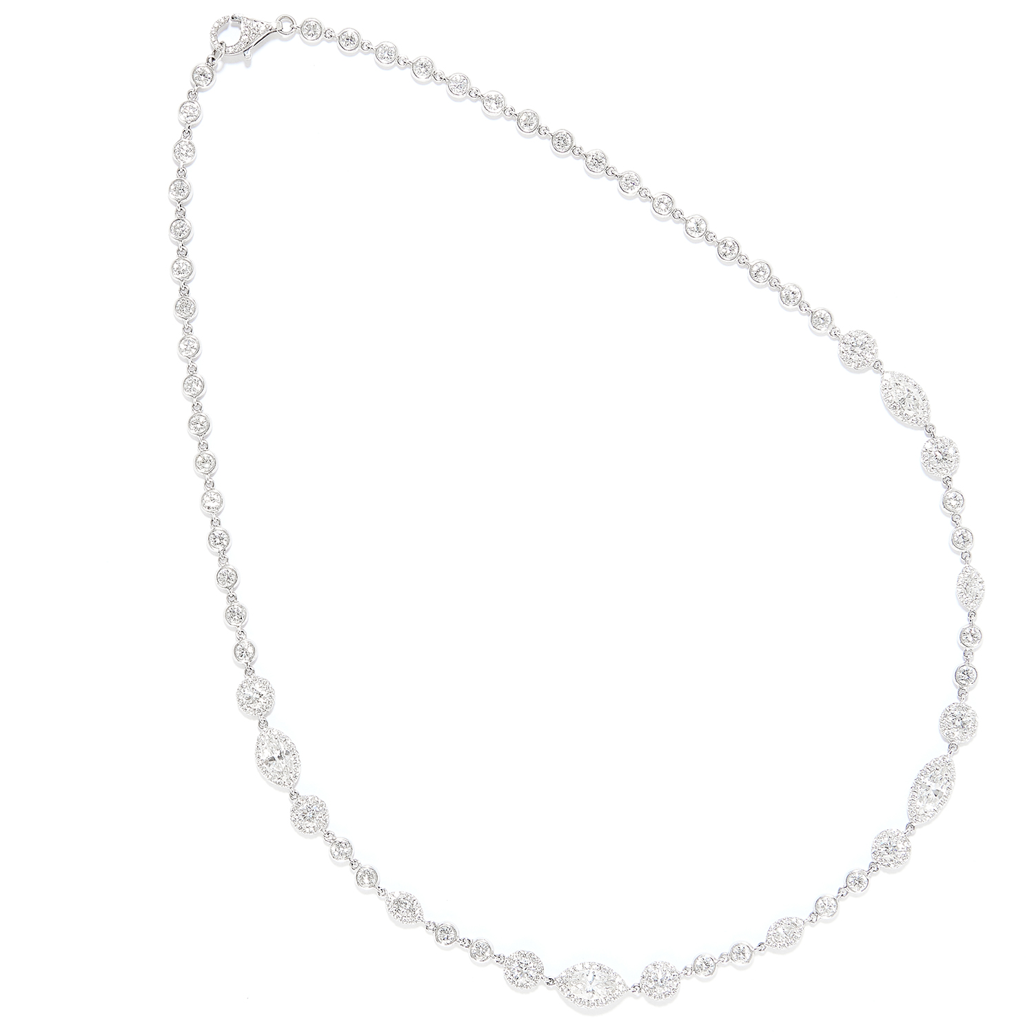 DIAMOND RIVIERA NECKLACE in 18ct white gold, set with round and marquise cut diamonds totalling