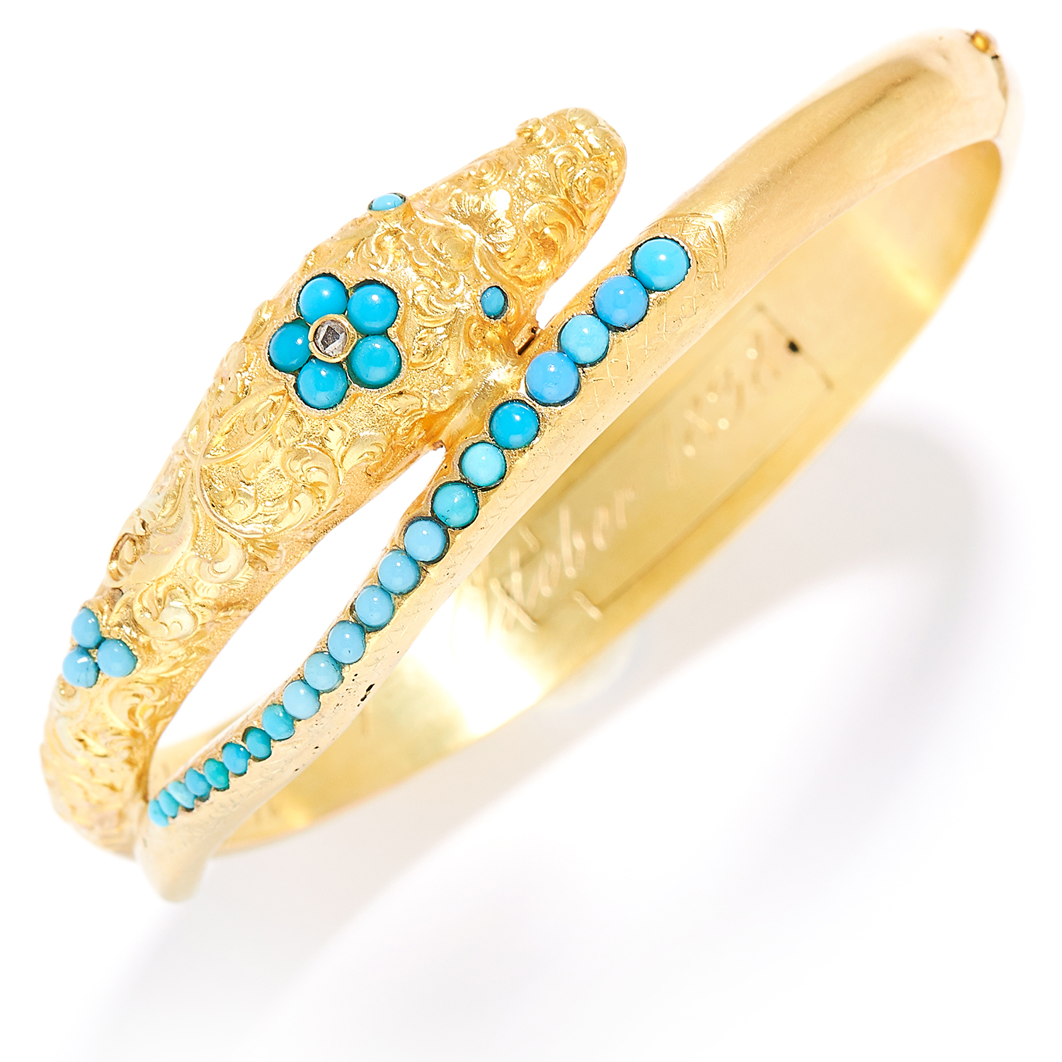 Los 20 - ANTIQUE TURQUOISE AND DIAMOND SERPENT / SNAKE MOURNING BANGLE, 19TH CENTURY in high carat yellow