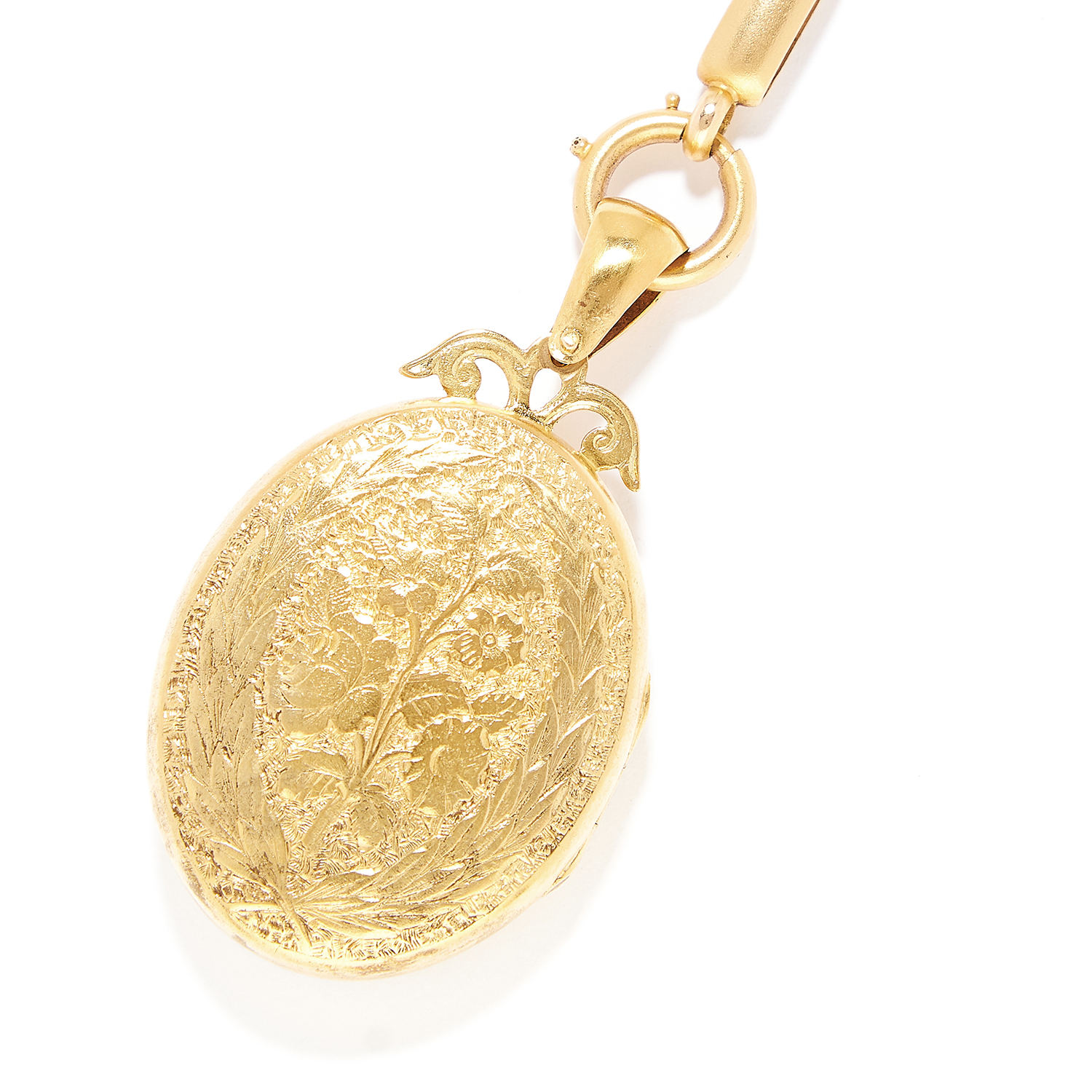 ANTIQUE RUBY AND DIAMOND LOCKET AND CHAIN in high carat yellow gold, the locket is set with rose cut - Bild 3 aus 3