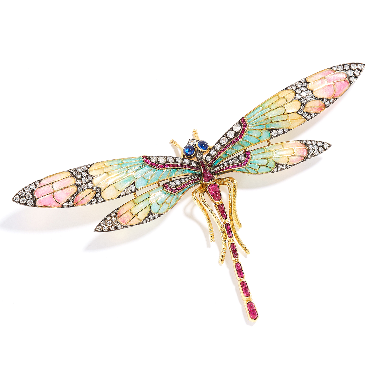 ANTIQUE ART NOUVEAU RUBY, SAPPHIRE, ENAMEL AND DIAMOND DRAGONFLY BROOCH in high carat yellow gold,