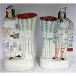 PAIR OF STAFFORDSHIRE POTTERY FIGURAL VASES OF HIGHLAND COUPLE - 34CM TALL