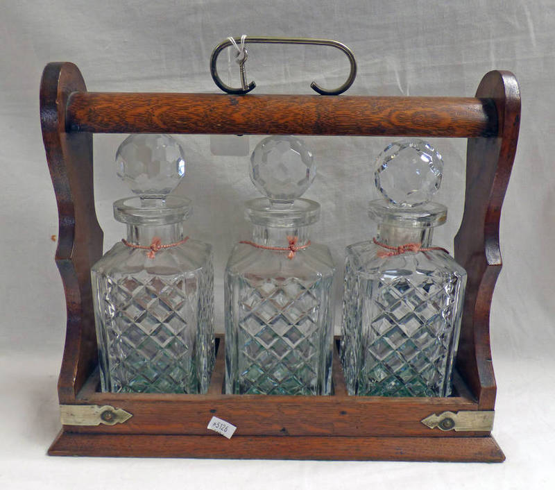 Lot 3030 - OAK 3 DECANTER TANTALUS WITH SILVER PLATED MOUNTS - UNMARKED Condition Report: All
