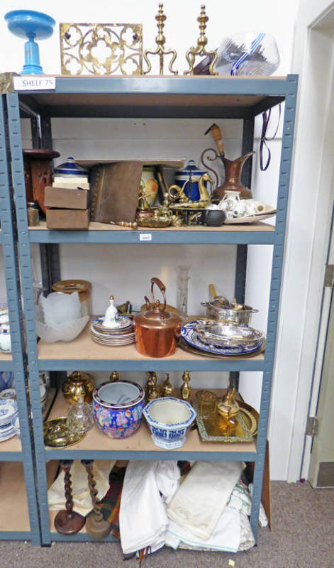 Lot 3002 - LARGE SELECTION OF BRASSWARE ORIENTAL JARDINIERE'S, CRESTED WARE, GLASS WARE,
