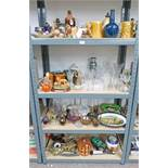 LARGE SELECTION OF PORCELAIN, GLASSWARE ETC INCLUDING DECANTERS, WATER JUGS,