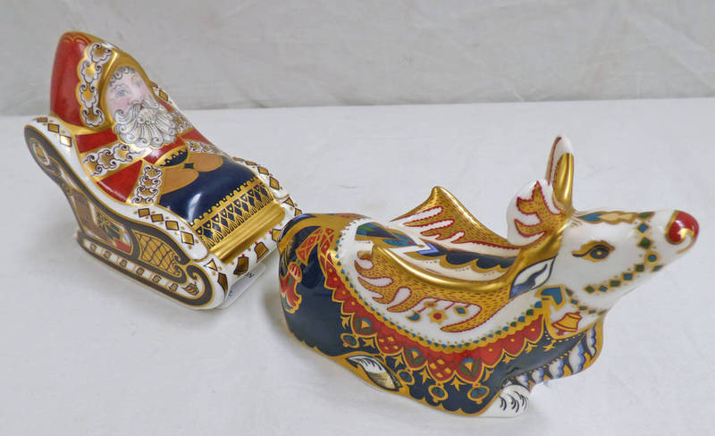 Lot 3038 - ROYAL CROWN DERBY SANTA & REINDEER PAPERWEIGHTS WITH GOLD STOPPERS