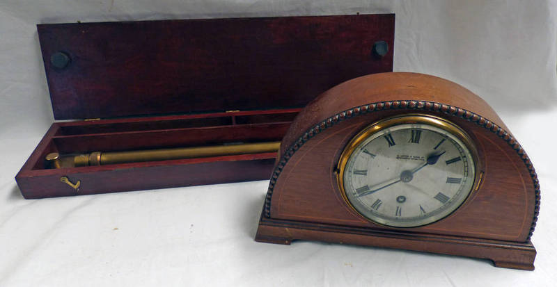 Lot 3045 - INLAID MAHOGANY MANTLE CLOCK AND BRASS MILITARY PARALLEZ RULES IN FITTED CASE