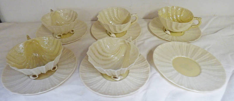 Lot 3032 - SET OF 5 BELLEEK SHELL TEACUPS & 6 SAUCERS WITH BLACK MARK Condition Report: One