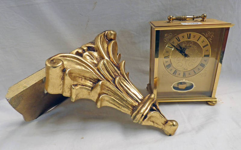 Lot 3050 - GILT BRACKET AND GILT MANTLE CLOCK