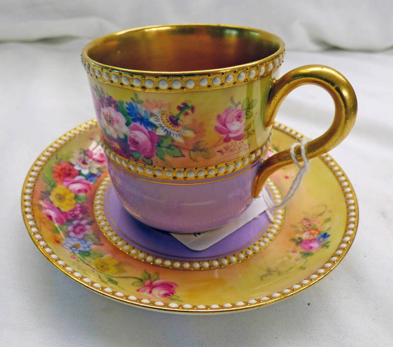Lot 3023 - EARLY 20TH CENTURY LILAC & GILT CABINET CUP & SAUCER WITH FLORAL DECORATION SIGNED E.