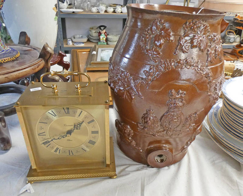 Lot 3145 - 19TH CENTURY GLAZED POTTERY WATER FILTER WITH RELIEF MOULDED DECORATION - 33.