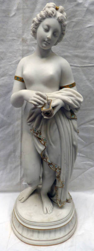 Lot 3006 - PARIAN WARE FIGURE OF A CLASSICAL MAIDEN WITH A GILT AND TURQUOISE DECORATION - 43CM TALL