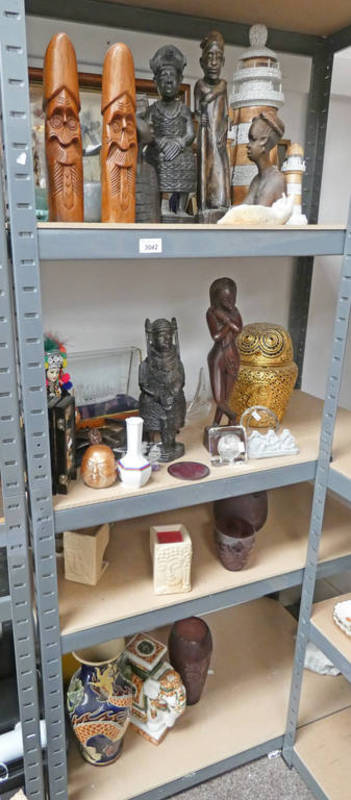 Lot 3042 - SELECTION OF VARIOUS CARVED TRIBAL FIGURES,