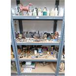 LARGE SELECTION OF STONEWARE BOTTLES, SILVER PLATED WARE, BESWICK HORSE,