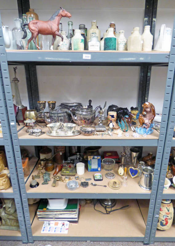Lot 3024 - LARGE SELECTION OF STONEWARE BOTTLES, SILVER PLATED WARE, BESWICK HORSE,