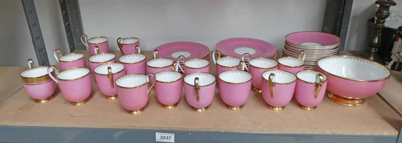 Lot 3037 - 19TH CENTURY PINK PORCELAIN TEA SET WITH GILT DECORATION ON 1 SHELF
