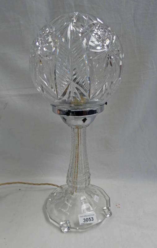 Lot 3053 - CUT GLASS TABLE LAMP WITH GLOBULAR SHADE - 42 CM TALL
