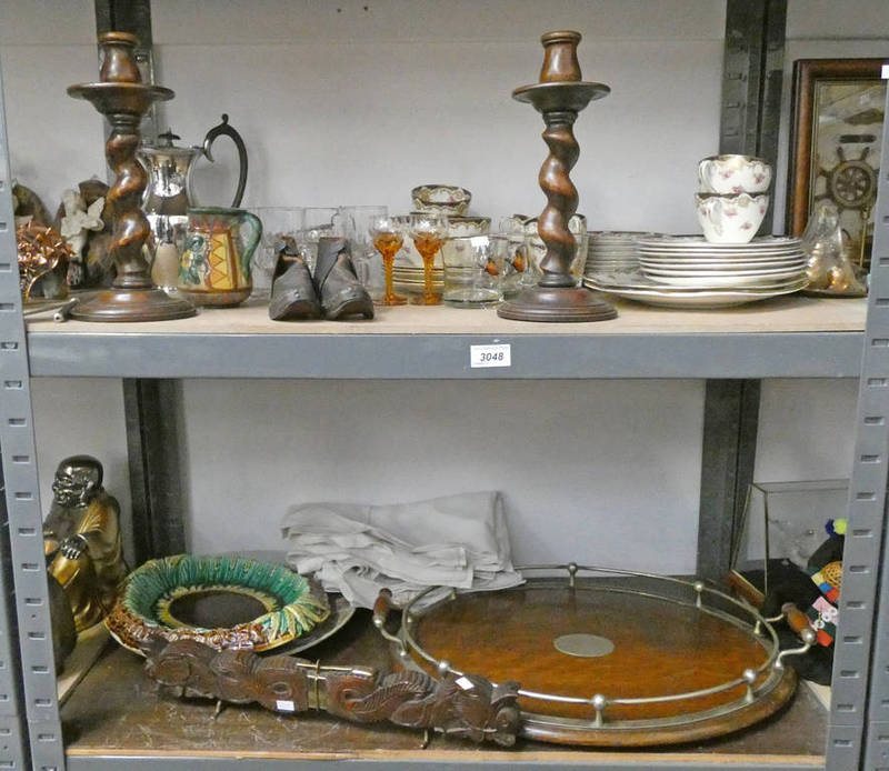 Lot 3048 - 3 PIECE SILVER PLATED TEASET, PAIR OAK CANDLESTICKS, OAK GALLERY TRAY, MAJOLICA STYLE DISH,
