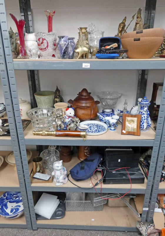 Lot 3027 - LARGE SELECTION OF GLASSWARE, BRASSWARE,