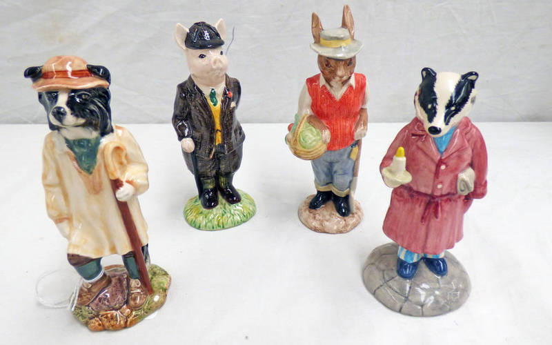 Lot 3049 - FOUR BESWICK PORCELAIN FIGURES INCLUDING GARDENER RABBIT, SHEPHERD SHEEP DOG,