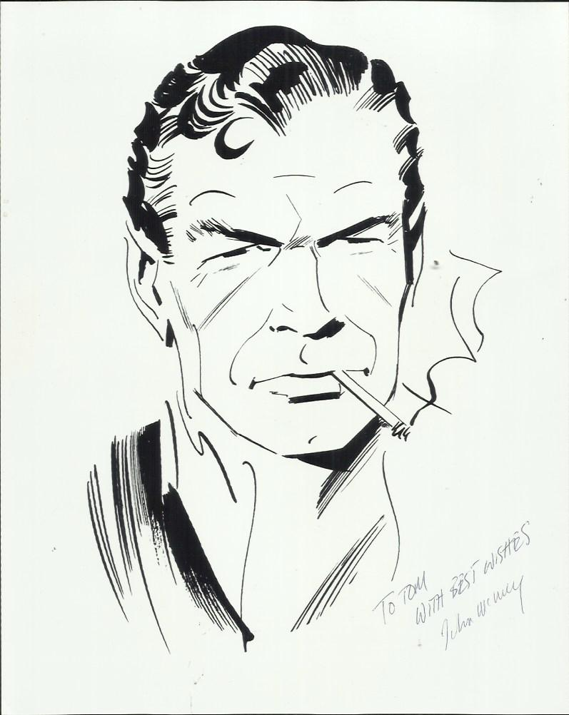 Lot 295 - James Bond art black and white photograph, taken from a drawing of James Bond by artist John