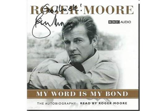 Roger Moore signed CD insert to the story album My Word is My Bond