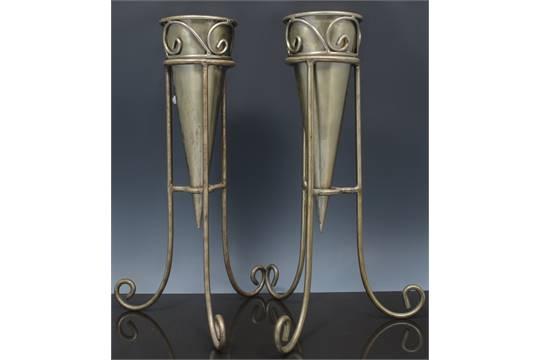 Pair Of Oxidised Metal Cone Shape Flower Vases Tripod Stands 41cm