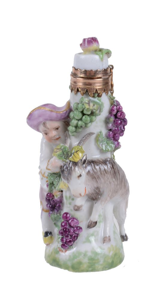 Lot 54 - A Charles Gouyn St. James's factory type scent bottle Bacchic group of a boy and goat