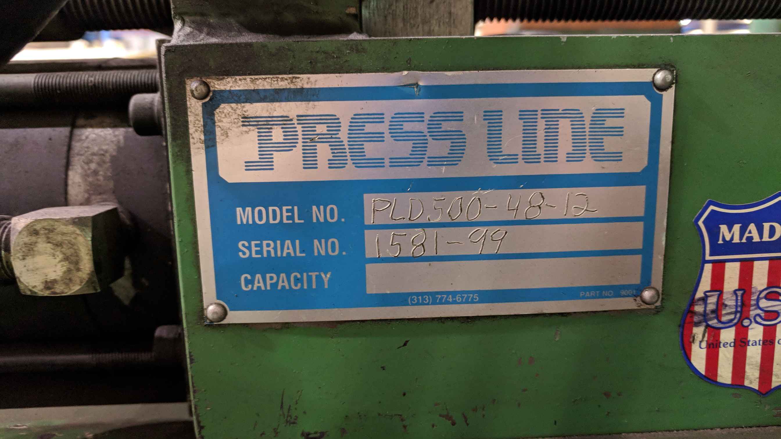 "PRESS LINE (1999) PLD500-48-12 48"" STRAIGHTENER-FEEDER, S/N 1581-99 - Image 2 of 5"