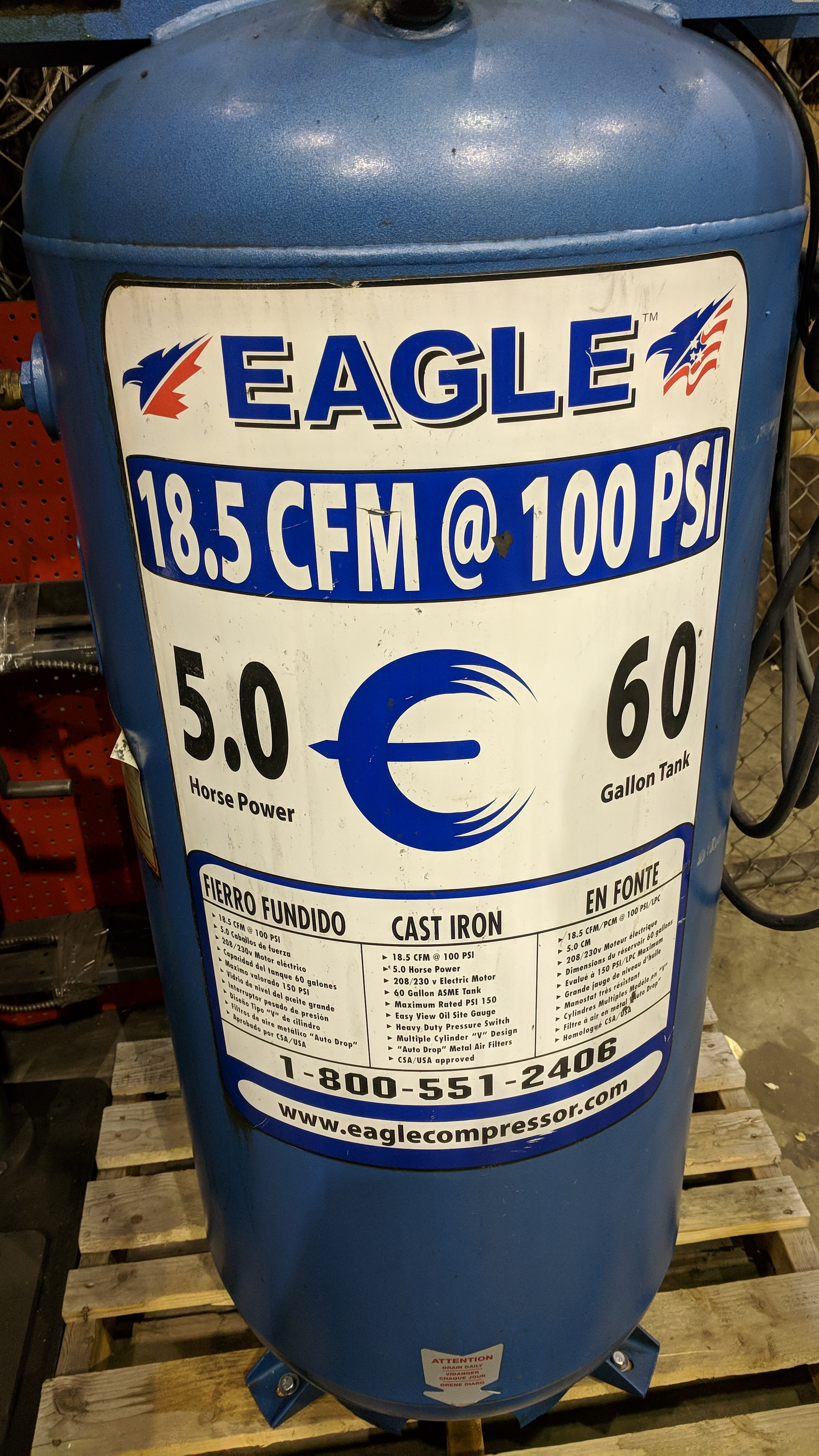 EAGLE C5160V1 PISTON TYPE TANK MOUNTED AIR COMPRESSOR WITH 5HP, 60 GAL, 18.5 CFM @ 100 PSI CAPACITY, - Image 2 of 4