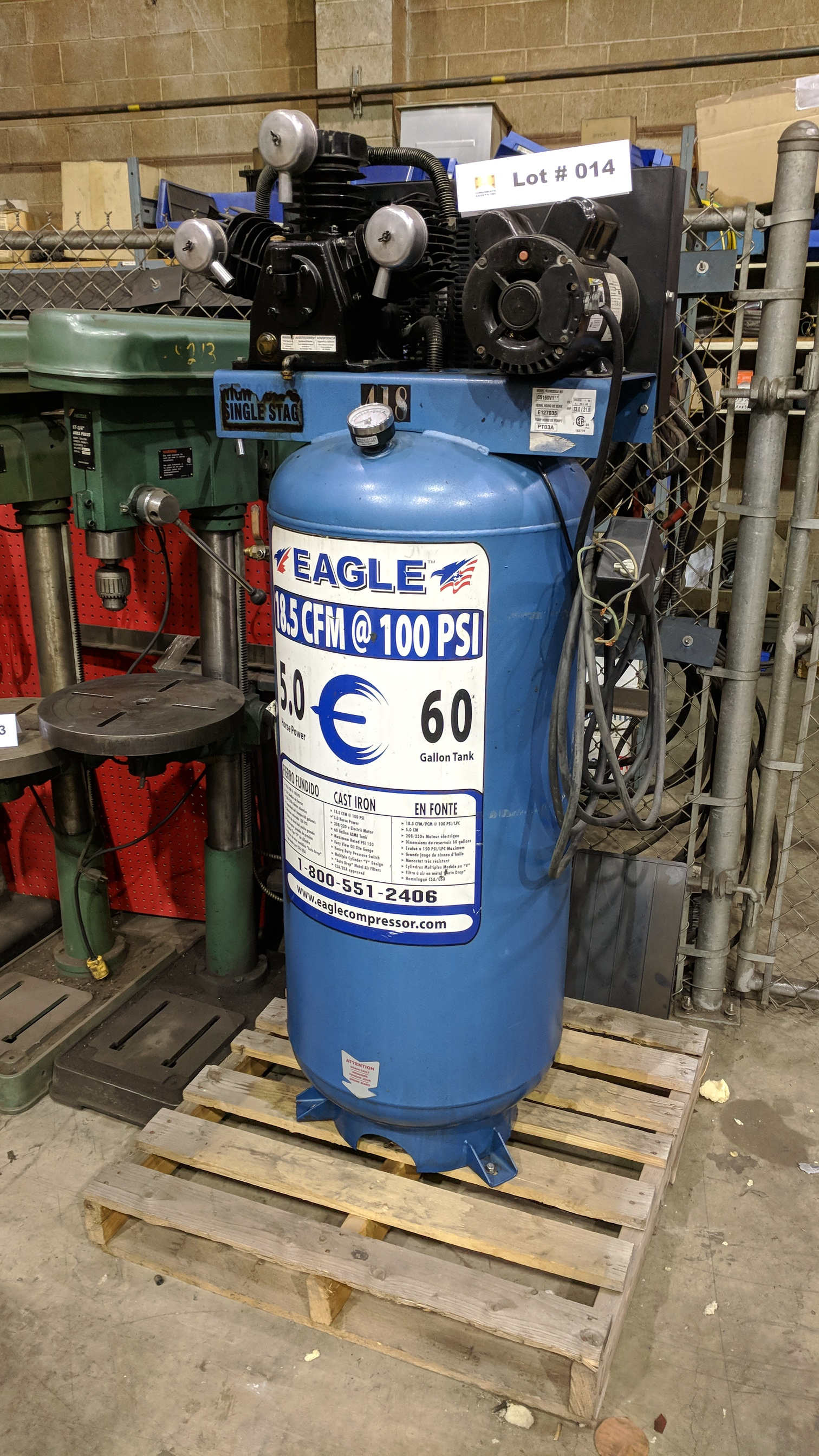 EAGLE C5160V1 PISTON TYPE TANK MOUNTED AIR COMPRESSOR WITH 5HP, 60 GAL, 18.5 CFM @ 100 PSI CAPACITY,