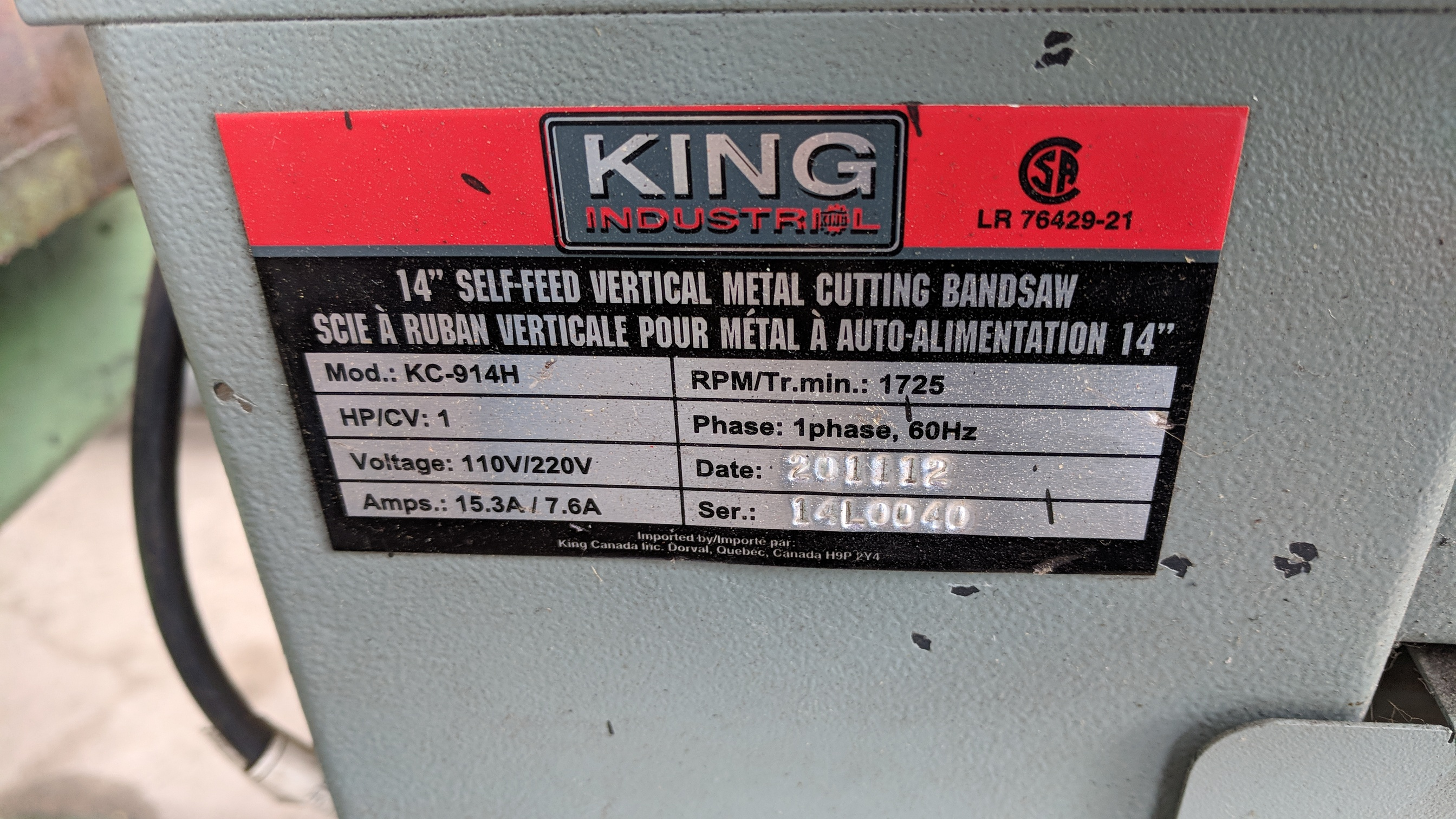 "KING (2012) KC-914H 14"" ROLL-IN VERTICAL BAND SAW, S/N 14L0040 (CI)- - Image 4 of 4"