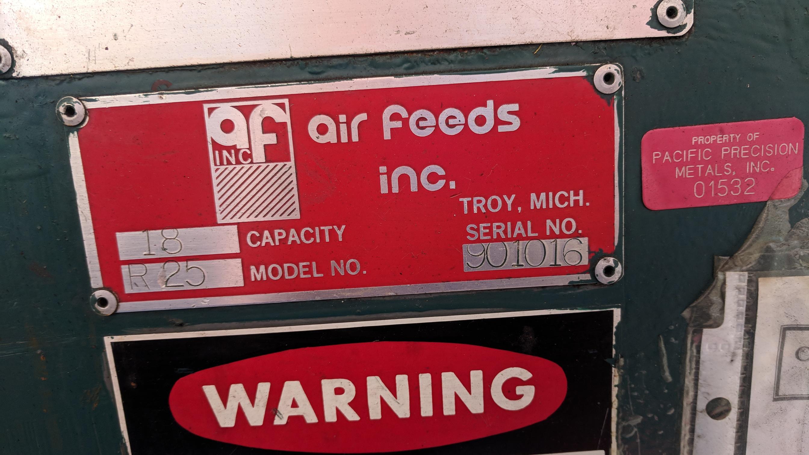 "AIR FEEDS INC R25 18"" CAPACITY UNCOILER, S/N 901016 (CI) - Image 3 of 5"