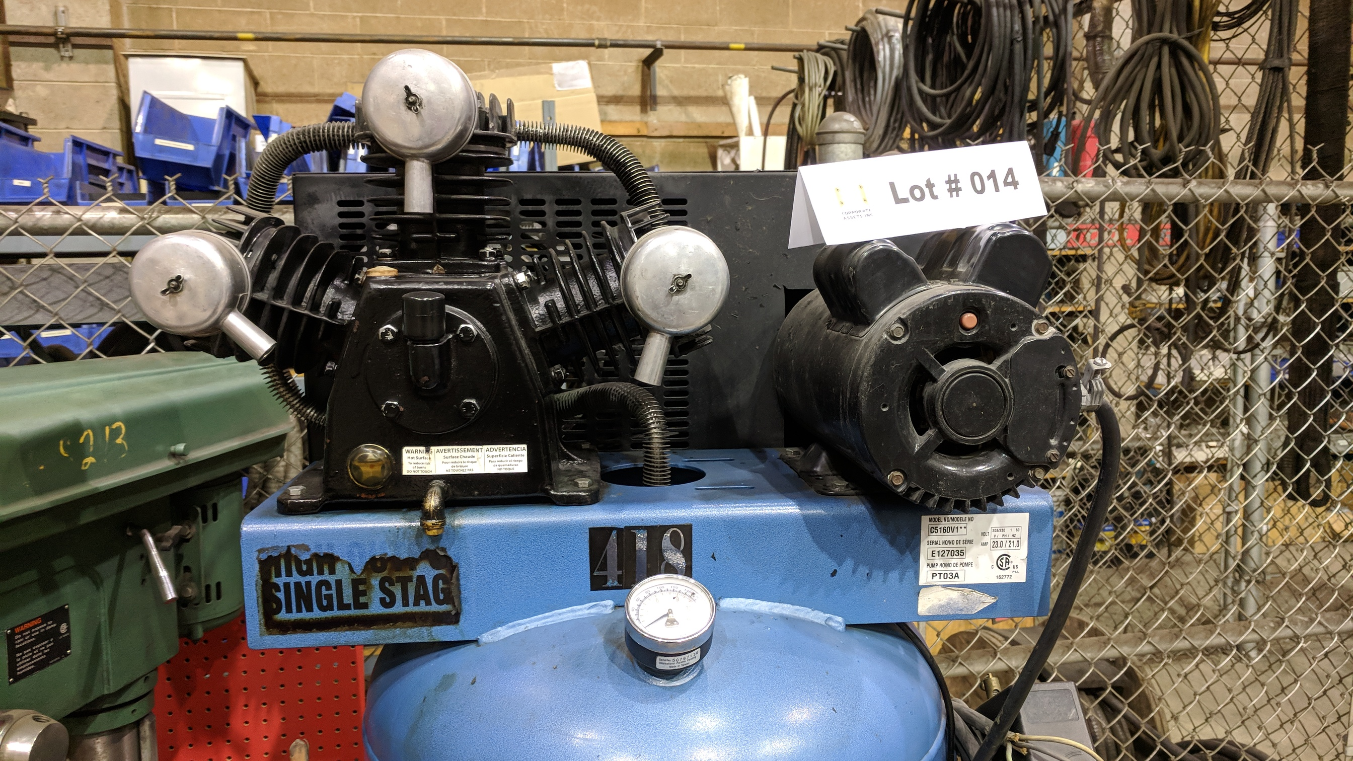 EAGLE C5160V1 PISTON TYPE TANK MOUNTED AIR COMPRESSOR WITH 5HP, 60 GAL, 18.5 CFM @ 100 PSI CAPACITY, - Image 3 of 4