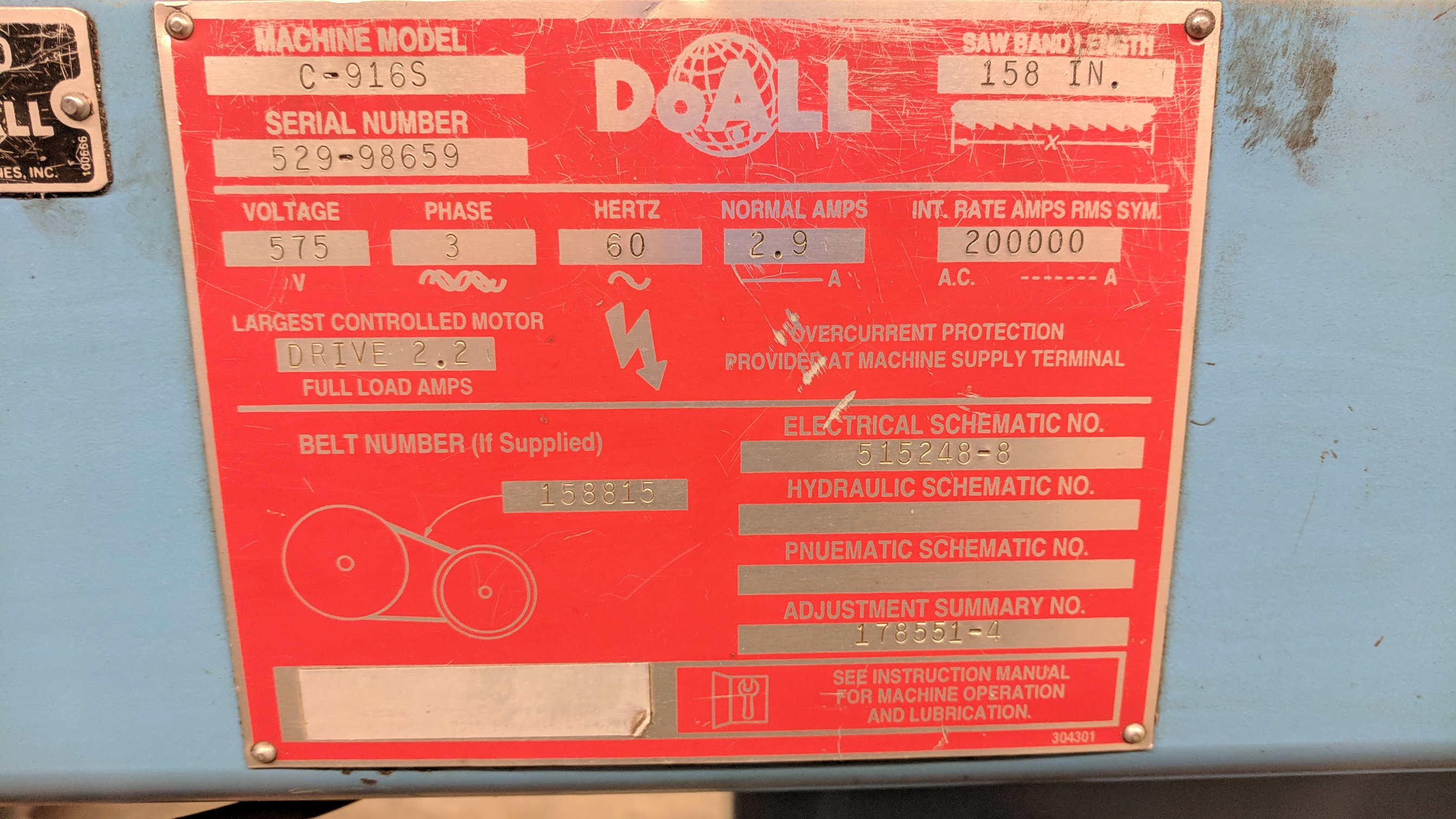 """DOALL C916S 9""""X16"""" METAL CUTTING HORIZONTAL BAND SAW WITH 1"""" X .035"""" X 158"""" BLADE, MITER CAPABILITY, - Image 7 of 7"""
