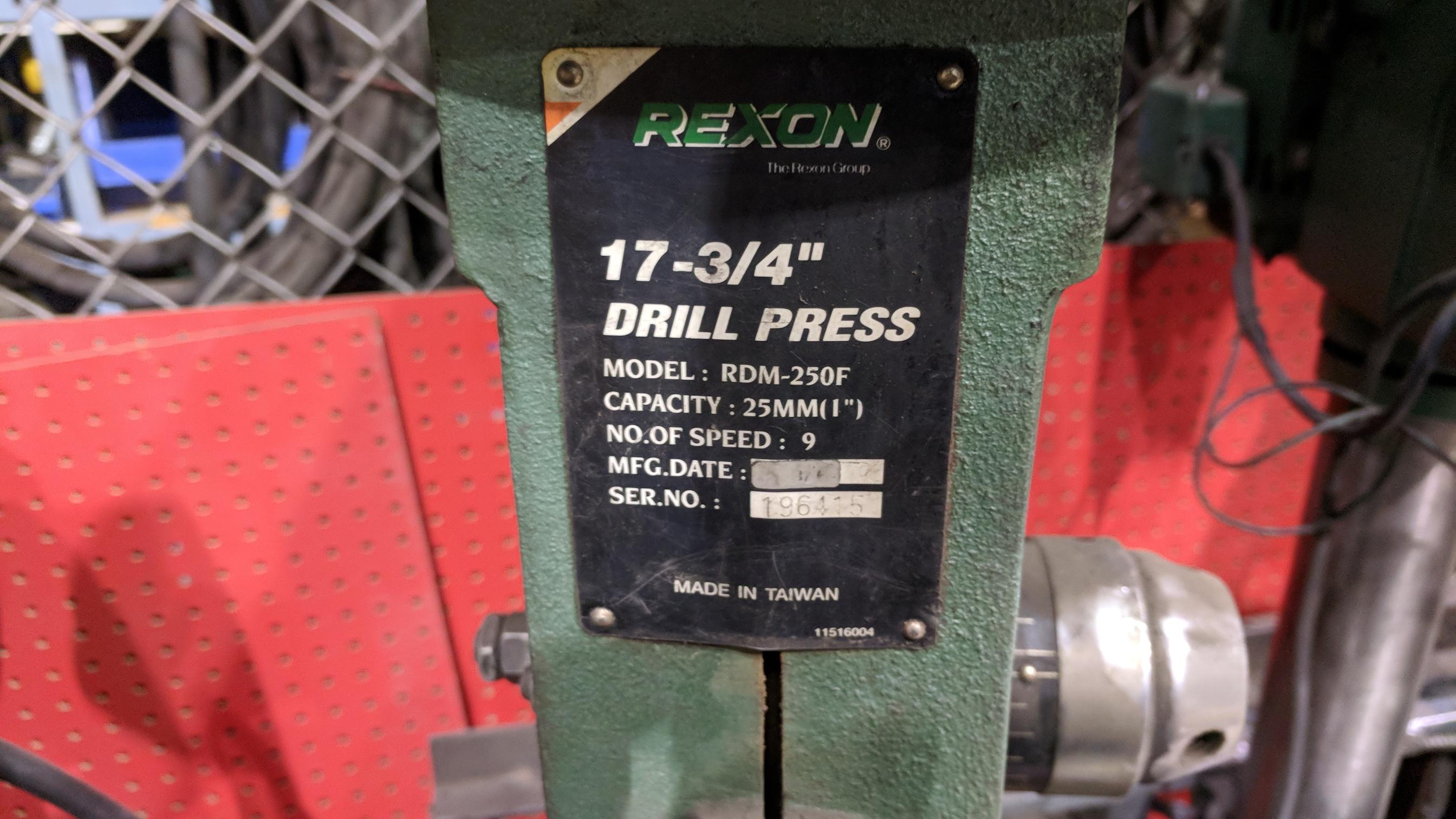 REXON (1998) RDM-250F HEAVY DUTY FLOOR TYPE DRILL PRESS, S/N N/A (NOT IN SERVICE) - Image 2 of 2