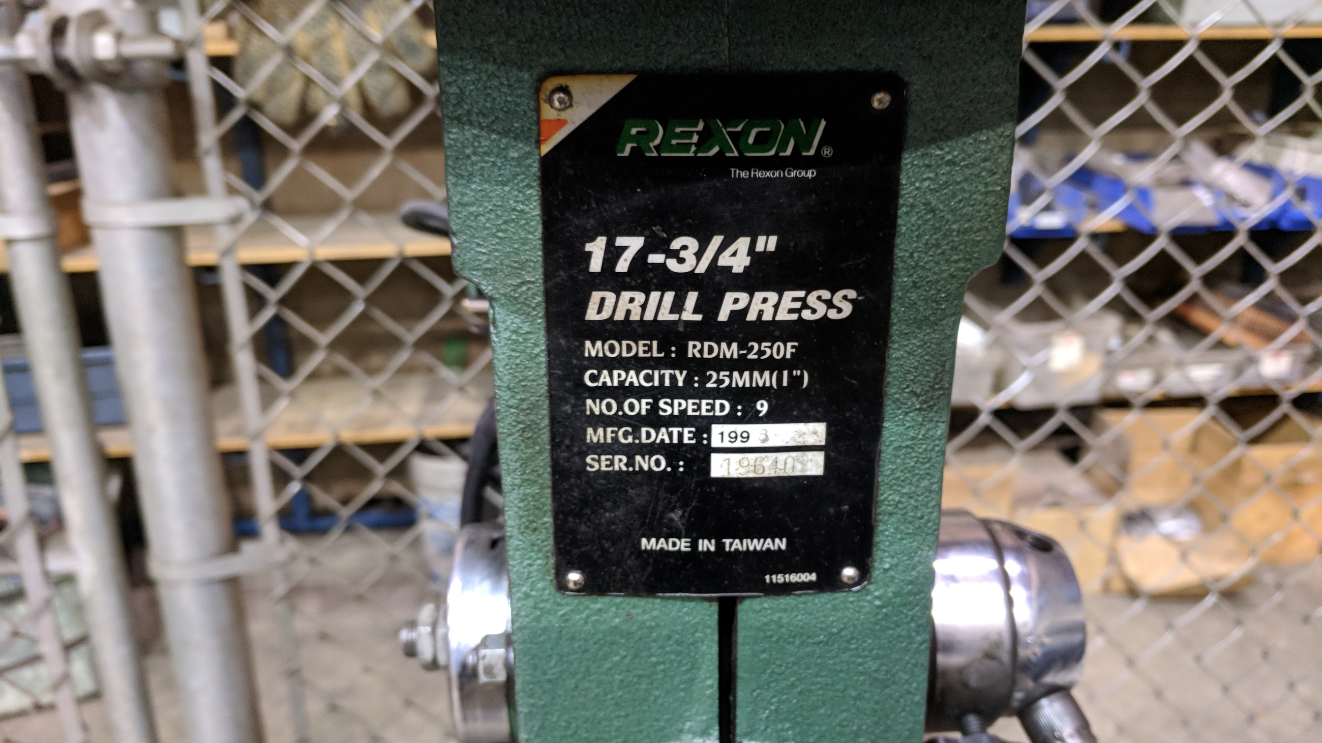 REXON (1998) RDM-250F HEAVY DUTY FLOOR TYPE DRILL PRESS, S/N 196402 - Image 2 of 2