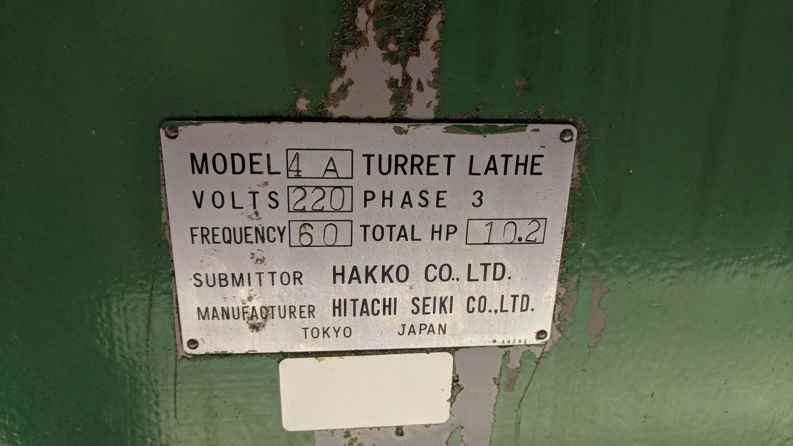 HITACHI SEIKI #4A CONVENTIONAL TURRET LATHE WITH S/N E40391 (CI) - Image 7 of 7