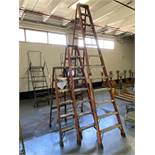 Lot of (3) Louisville Fiberglass Step Ladders, 12'/8'/6'
