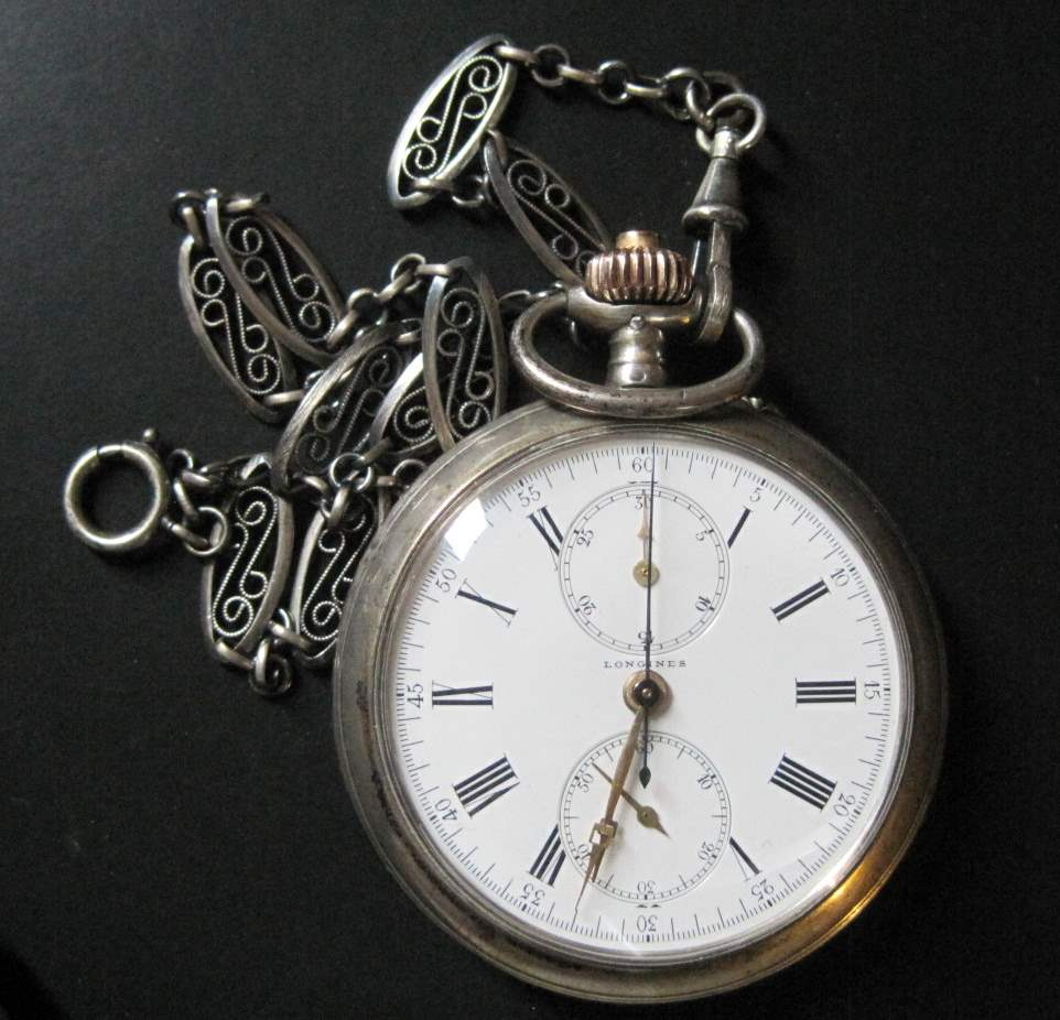 Lot 9 - Solid silver pocket watch by LONGINES, with chronometer, chain, circa 1900, diameter: [...]