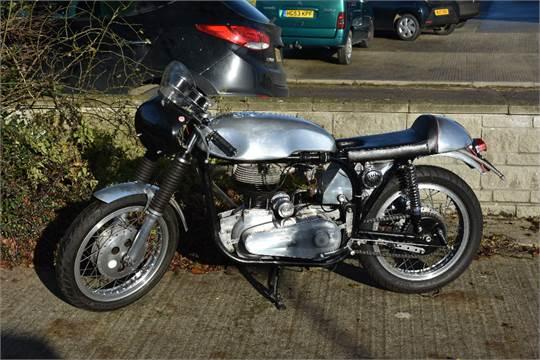 A 1958 Norton ES2 Clubman café racer, registration number GSK 816