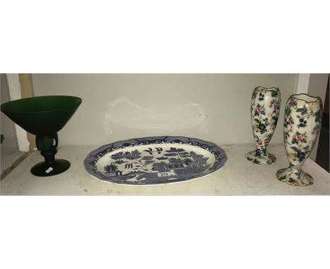 A pair of 1920's Crown Ducal vases, a good Japanese blue willow meat platter and a green glass vase